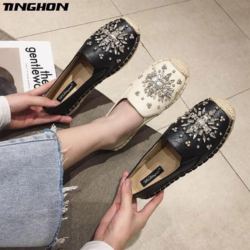 TINGHON Luxurious Fashion Women Ladies Espadrille Shoes PU Rhinestone  Hemps Fisherman Flats
