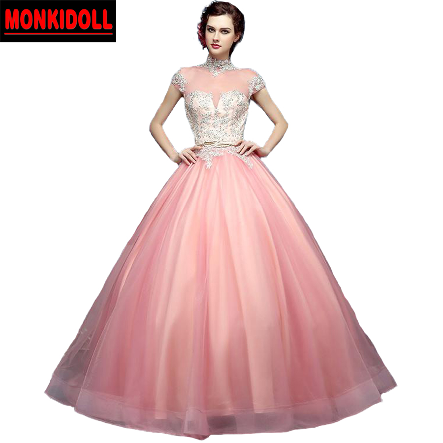 2017 High Neck Pink Prom Dresses Applique Beaded Long Costume Puffy ...