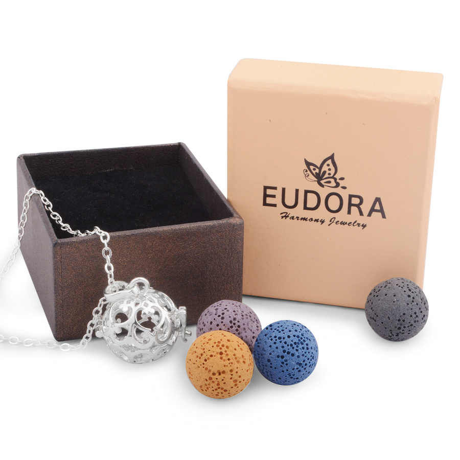 Eudora Copper Metal 16 mm Harmony Bola Cage Pendant Necklace Perfume Diffuser Aromatherapy Essential Oils Locket Women  Jewelry