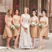 2015 Three Styles V Neck Bridesmaid Dresses Off The Shoulder Chiffon Sashes Pleat A Line Knee-Length Robe Demoiselle D'honneur
