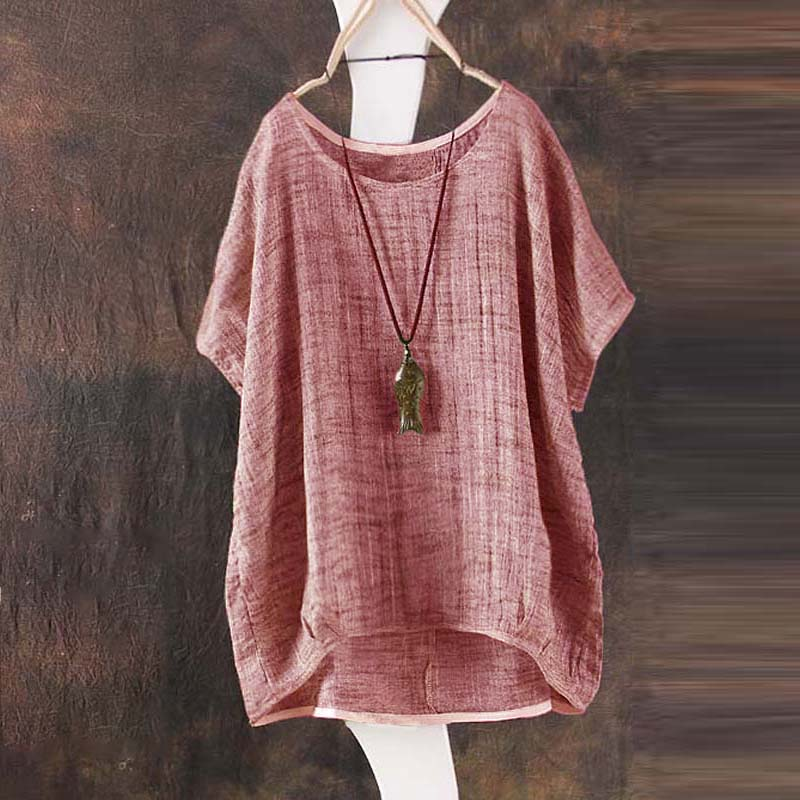 shirt women Summer 2018 Women Casual loose Batwing Short Sleeve round neck Cotton linen T-shirt Tops camisas feminina