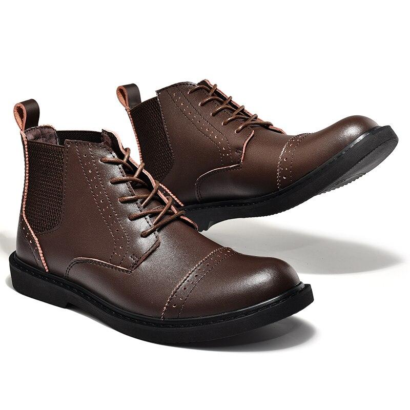2017 Genuine Leather Men Boots Black Brown Casual Shoes Men High Top Men Walking Boots Leather Comfortable Footwear Men
