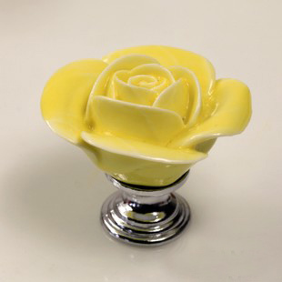 Rose drawer knob, Flower ceramic knob for cupboard, Kitchen cabinet ...