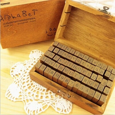 DIY Wood Stamps Digital and Letters Ink Pad Stamp Scrapbooking Stationary Sets