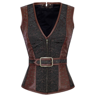 Gothic Bustier Fashion Steampunk Brocade Jacket Corset Espartilho Sexy Faux Leather V Neck Front Zipper Corset Lace Up Back