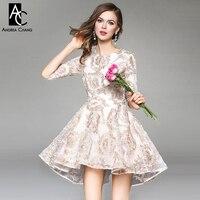 צבע בז 'עירום מעצב מסלול אביב סתיו שמלות נשים אסימטרית אפליקצית דפוס בציר באיכות גבוהה אירוע מסיבת dress