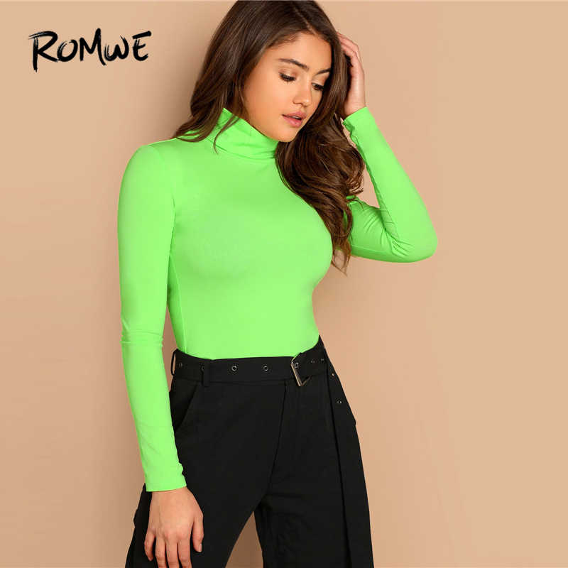 5418d5dab0edf ... ROMWE High Neck Neon Lime Form Fitted Tee 2019 Green Spring Autumn  Women T-shirt ...