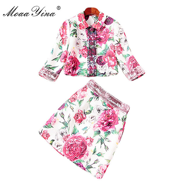 MoaaYina Fashion Set Spring Women 3/4 sleeve Floral Rose Print Applique loveliness Elegant Tops+Sequin Mini Skirt Two-piece suit