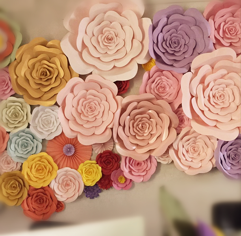 On sale diy half made giant paper flowers large artificial rose diy half made giant paper flowers large artificial rose flower home wedding party backdrop wall decorations mightylinksfo