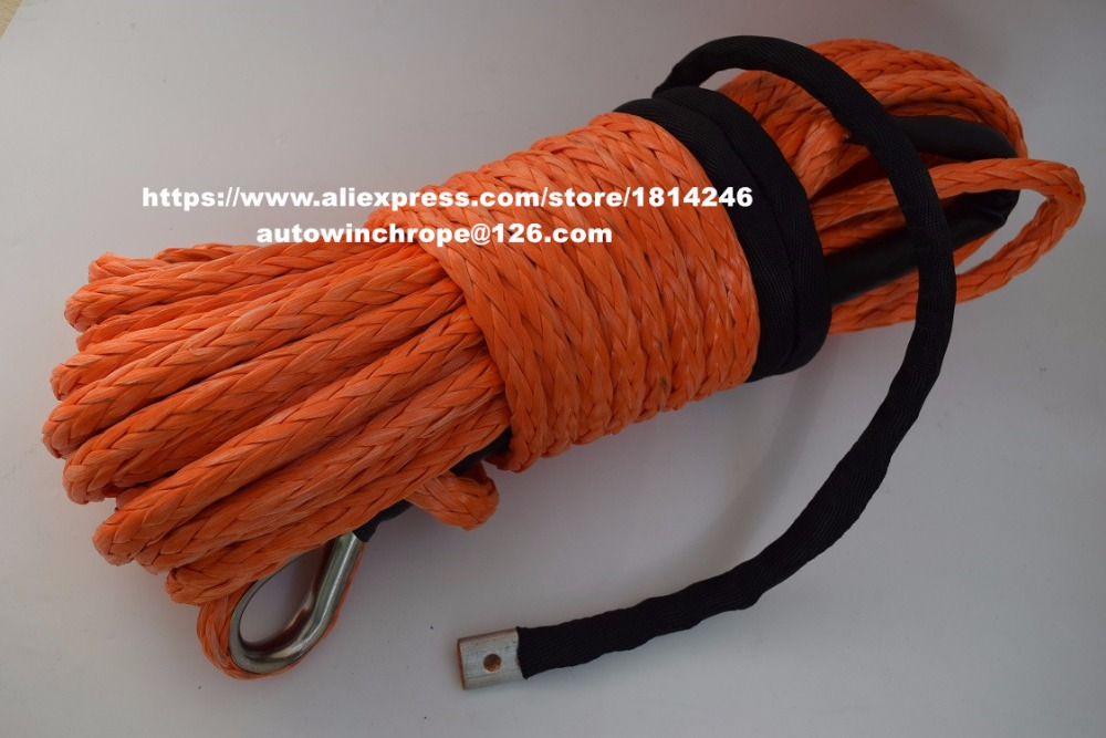 12mm 30m Orange Synthetic Winch Rope with Thimble Off Road Rope Spectra Winch Rope Kevlar Winch
