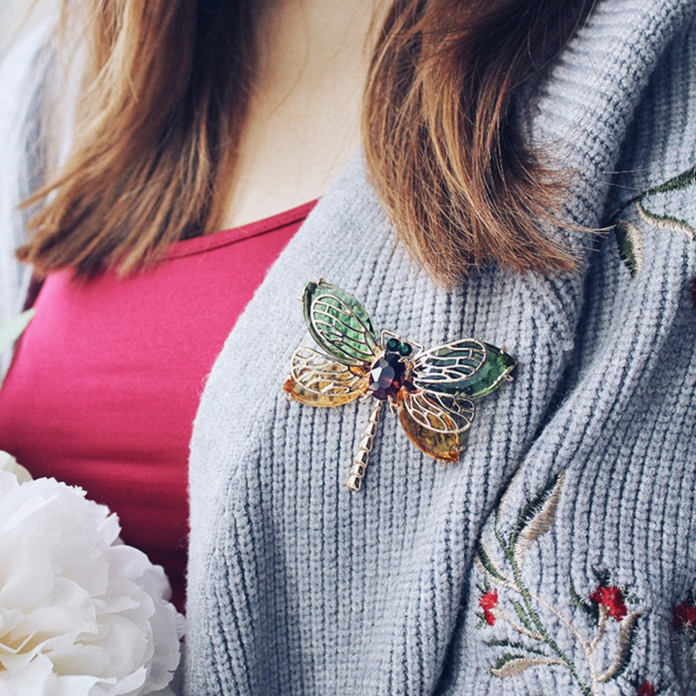 eManco Green Cute Animal & Insect Dragonfly Brooches Pins for Women Blue Crystal Brooch Clothing Accessories Fashion Jewelry brooch pins pink flamingo brooches for women love cute gift enamel lapel pin broche broches 2018 fashion jewelry accessories