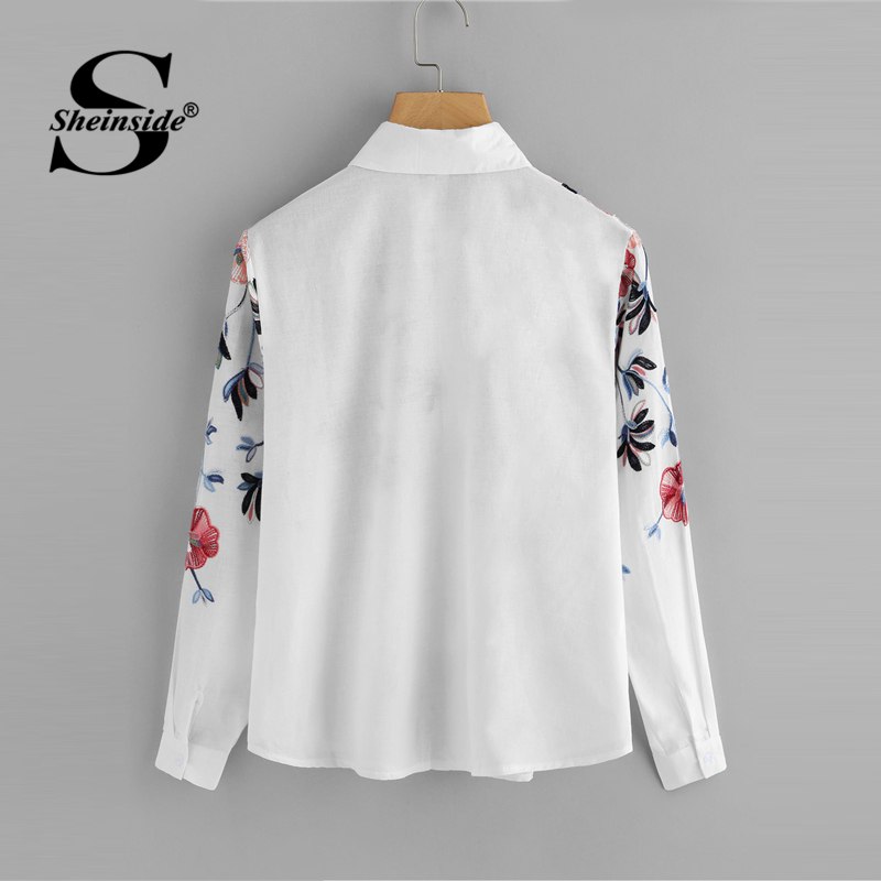 9f5cd39828 Sheinside White Embroidery Long Sleeve Shirts Floral Button Top 2018 Spring  Women Office Work Wear Elegant Blouse-in Blouses & Shirts from Women's  Clothing ...