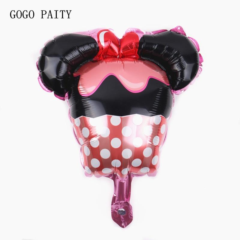 GOGO PAITY New Minnie modeling ice cream cake aluminum foil aluminum foil balloon baby birthday party decorations