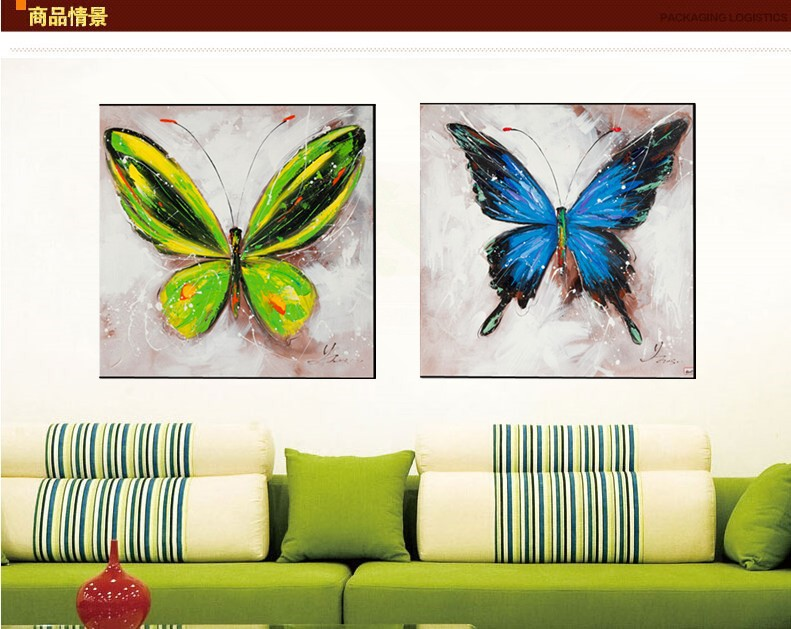 Wall art hand painted : Aliexpress buy hand painted oil painting butterfly