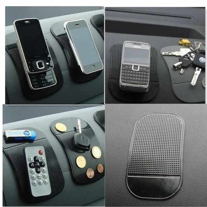 13*7Cm Universal Pu Mape Anti Slip Pad Automobile Spider Mat Mobile Phone Mat Holder Mount Black