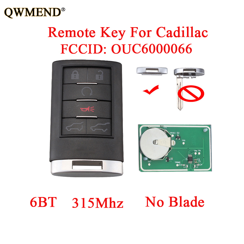 QWMEND 6Buttons Remote Start Keyless Entry Key For