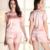 Mulheres Lingerie Sexy Elegante Moda Verão Em Torno Do Pescoço Lace Stain 2 Peças Ternos do Sono Pijamas roupa Pijamas Femme