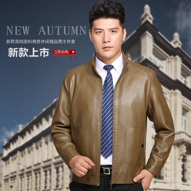 2017 Autumn New Brand Clothing Turn Down Collar  Leather coat Jacket man Casaco de couro Abrigo Chaqueta de cuero veste de cuir