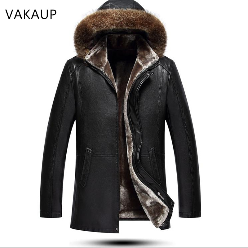 Mens Jacket Sheepskin Coats Wool Tie Cap Men's Fur Long Comfortable Plush Thick Coat Winter Warm Genuine Leather Jackets