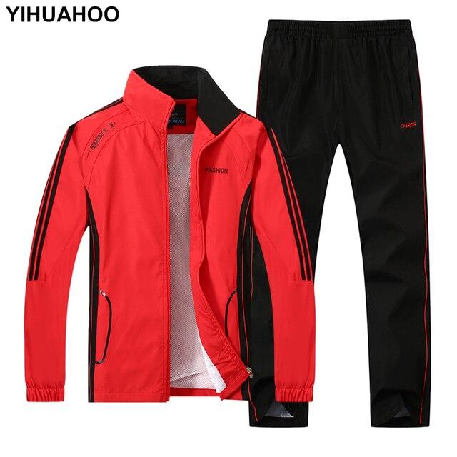 YIHUAHOO Cộng Với Kích Thước 4XL 5XL Mùa Xuân Mùa Thu Tracksuit Người Đàn Ông Hai Mảnh Bộ Quần Áo Giản Dị Theo Dõi Phù Hợp Với Thể Thao Sweatsuits YB-T268