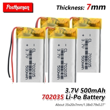 37V 500mAh 702035 Lithium Polymer Rechargeable Li-ion Battery Accumulator lipo cell For Toy MP3 MP4 MP5 GPS BT Speaker Headset