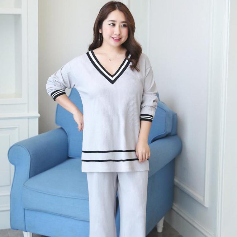 Plus Size Pajamas Set Lady Casual 2Pcs Shirt&Pants Home Wear Cotton Sleepwear Suit Stripe Negligee Nightwear Large Size XL-XXXL