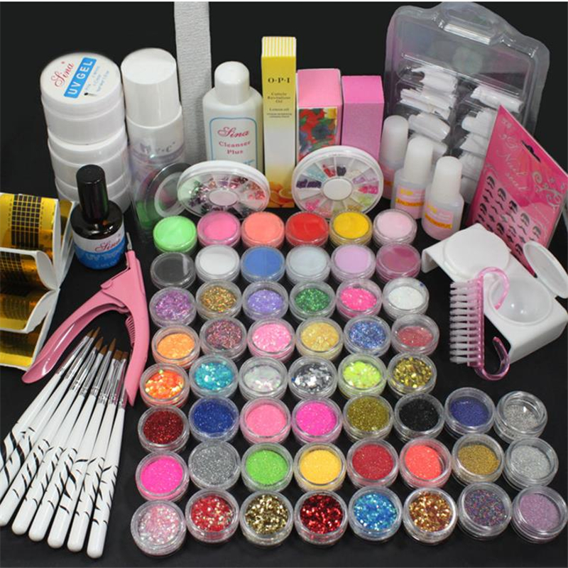 54 Glitter Powder Manicure Nail Kit Rhinestones 3D Design Acrylic Powder Gel Polish Nail Tips Gems Decoration DIY Nail Tools Kit