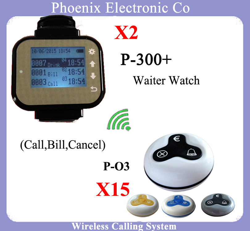 Wireless Waiter Calling System with 2 Pager Watch P-300plus With 15pcs Buzzer Button,Pager Waiter Call System,Waiter Pagers restaurant pager watch wireless call buzzer system work with 3 pcs wrist watch and 25pcs waitress bell button p h4
