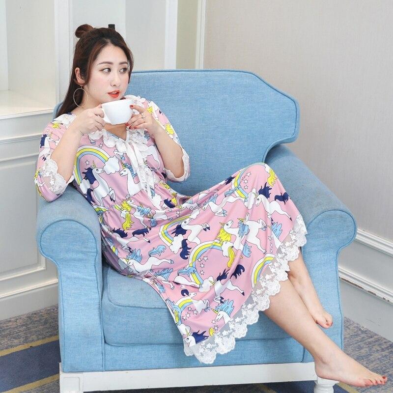 Été femmes vêtements de nuit vêtements de nuit robe trois quarts manches rose et bleu vêtements de nuit femmes dentelle robe grande taille 4XL 2018 nouveau