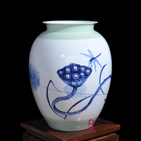 ceramic vase Wang Yunxi painted blue and white porcelain of modern living room decoration crafts drunk in autumn