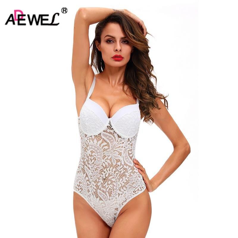 ADEWEL Sexy Women Spaghetti Strap Lace Bodysuit See Through Skinny Jumpsuit Romper Combinaison Shorts Playsuits Body Feminino