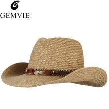 c9626e5a7b73a Classical Western Cowboy Hat For Men Women Summer Straw Hats Alloy Feather  Beads Cowgirl Jazz Cap