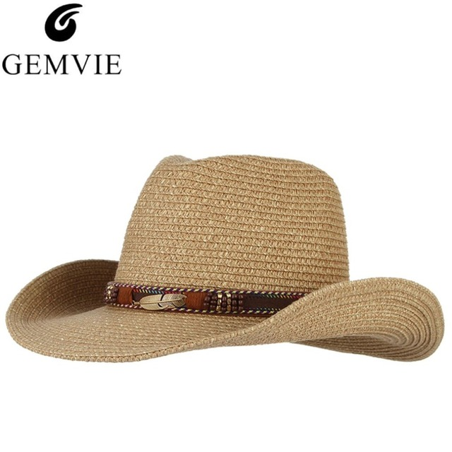 Classical Western Cowboy Hat For Men Women Summer Straw Hats Alloy Feather  Beads Cowgirl Jazz Cap Wide Brim Sun Caps Sombrero 58e40134aa3f