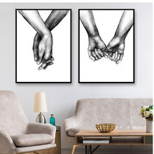 Poster Canvas Wall Art 1PC Decorative Painting Frameless Black And White Nordic Lover For Living Room Holding Hands(China)