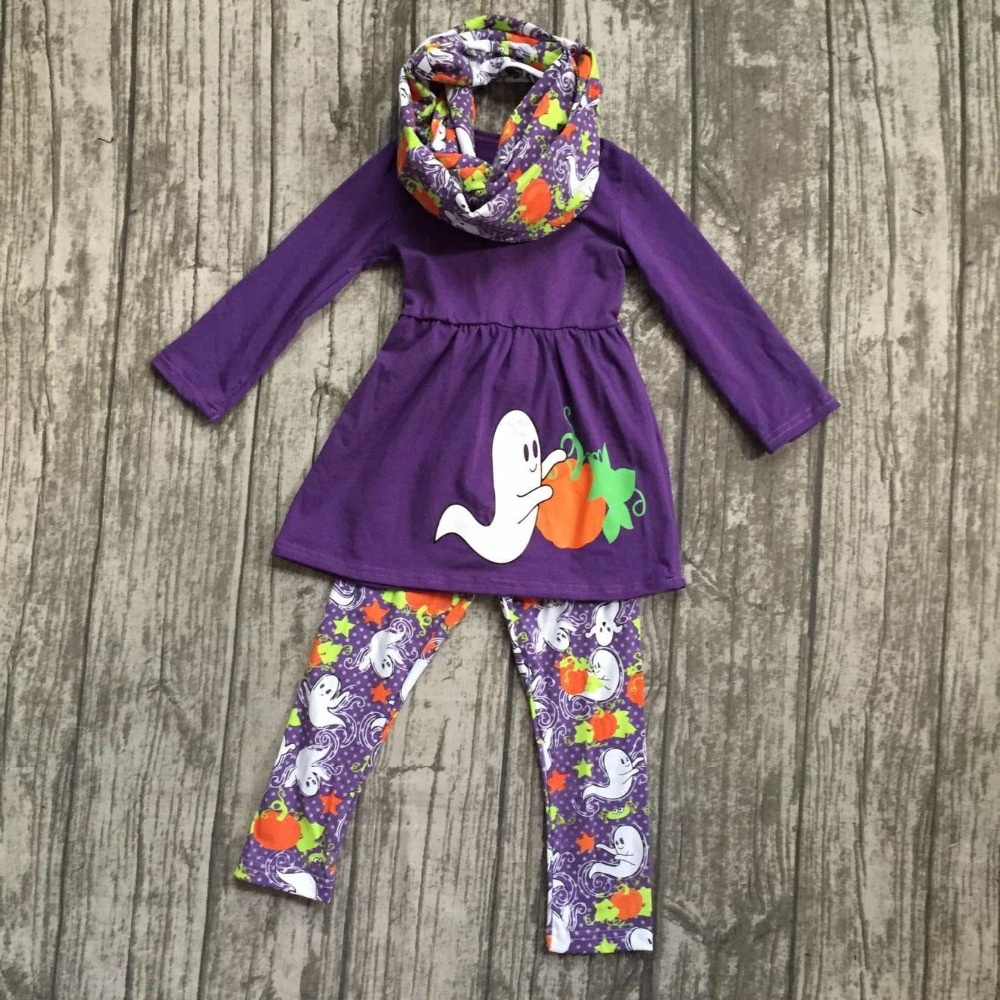 Halloween FALL/Winter baby girls outfits 3pieces scarf purple top goest pumpkin BOO long pant boutique children cotton clothes thanksgiving baby girls kids fall striped brown outfits dress pumpkin boutique cotton sleeve children clothes match accessory