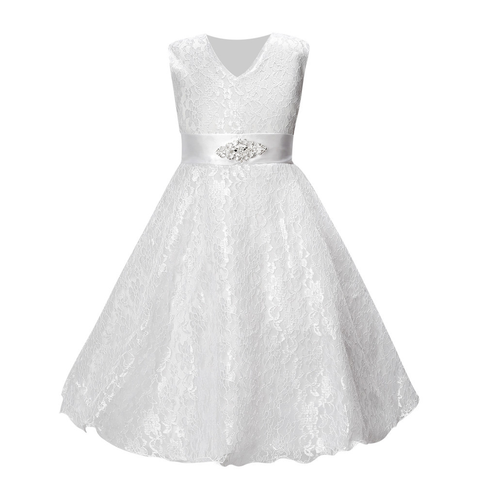 Lace Girl Dress Kids Pageant Party Wedding Bridesmaid Ball Gown Prom Princess Formal Occasion Girls Dresses  Sleeveless kids girls bridesmaid wedding toddler baby girl princess dress sleeveless sequin flower prom party ball gown formal party xd24 c