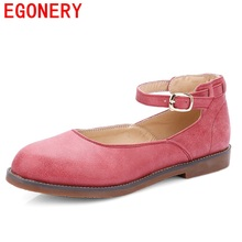 EGONERY shoes 2016 new style brand  cheap shoes flats round toe PU mary jane shoes low heel  casual flats woman high quality