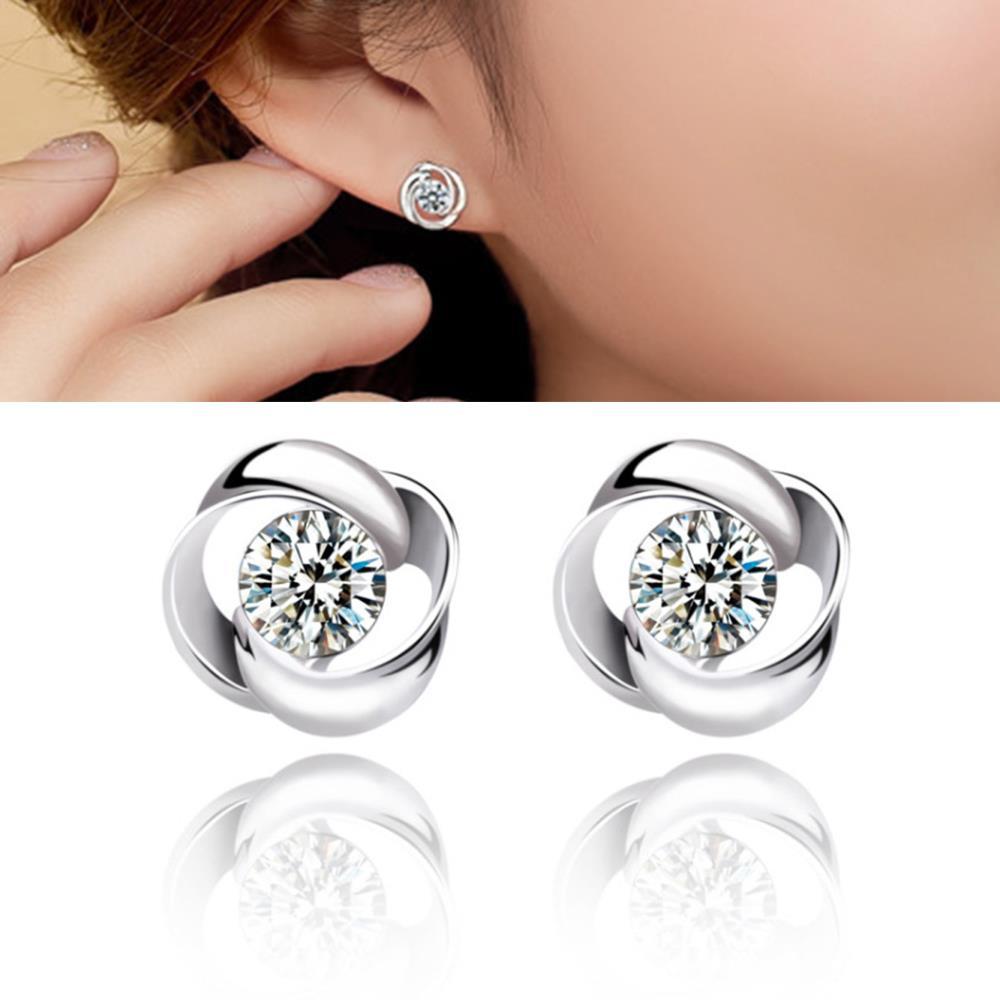1c4f6c71d7b1 2018 el más nuevo estilo coreano de la manera joyería plata color cubic  ZIRCON Rose forma Pendientes de broche para las mujeres Lovely studs para  Lady