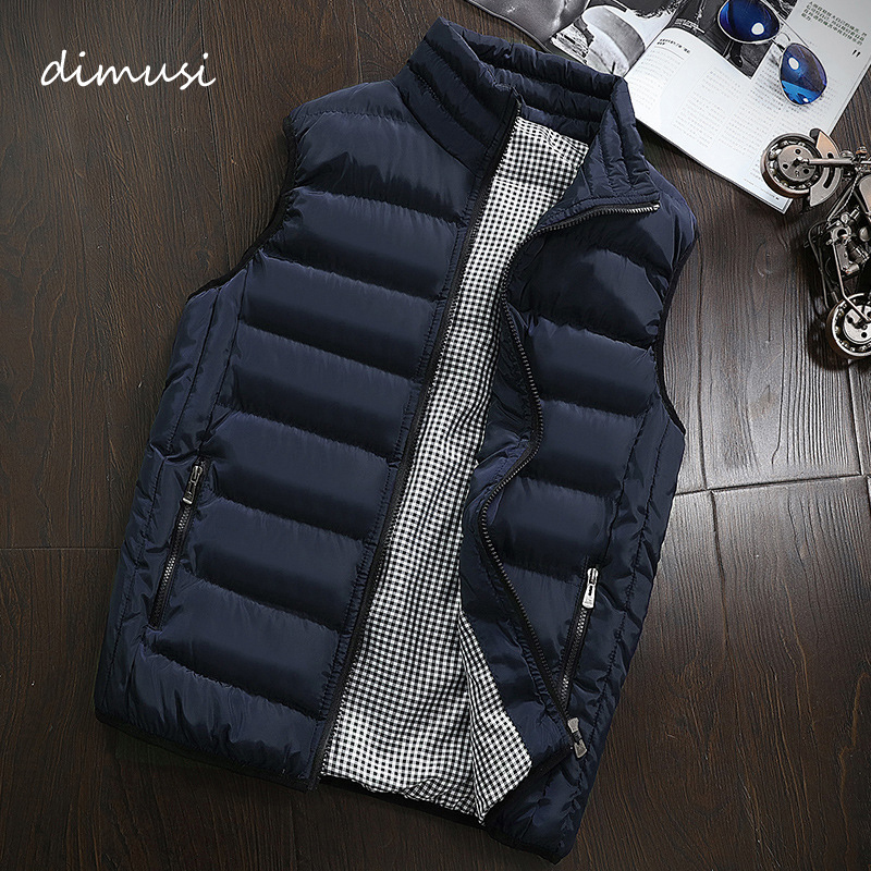 DIMUSI Autumn Winter Mens Sleeveless Jacket Vest Coats Fashion Male Cotton-Padded Vests Men Thicken Waistcoats Clothing 5XL