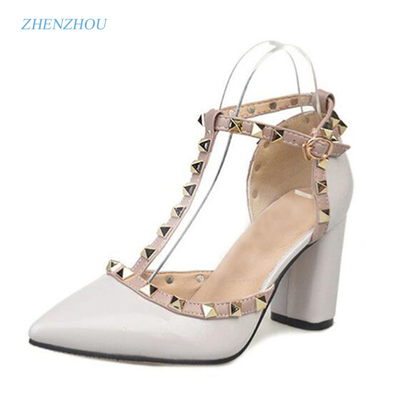 New Free shipping 5CM 2017 Pumps new shoes T belt buckle hollow rivets pointed high heeled
