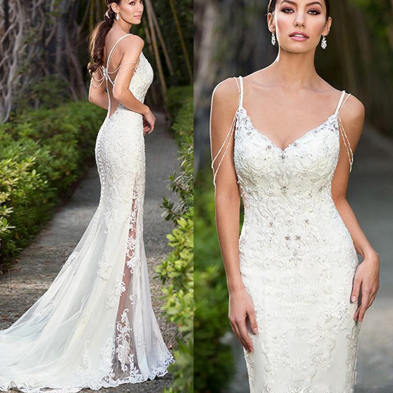 2019 Sexy Spaghetti Straps Backless Mermaid Wedding Dresses Formal Lace Appliques Beaded Crystal Women Bridal Wedding