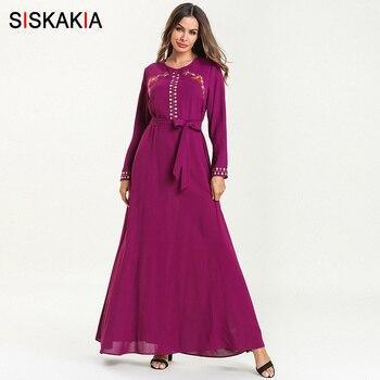 1e0e7b953c2ac Siskakia Vintage Etnik nakış uzun elbise Mor Yuvarlak Boyun Uzun Kollu Maxi  Elbiseler Ramazan Müslüman Arap Giysileri Bahar 2019