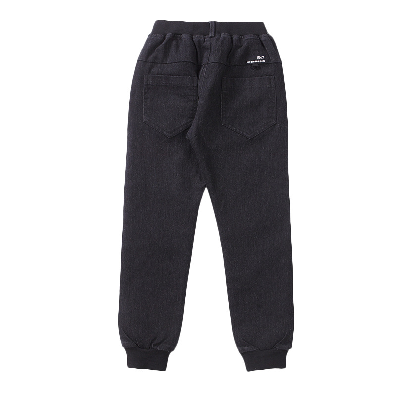 Teenage Little Boys Fleece Denim Pants for Children Black Warm Jeans Trousers Boys Denim Bottom Clothing Kids Mid Jeans Pants