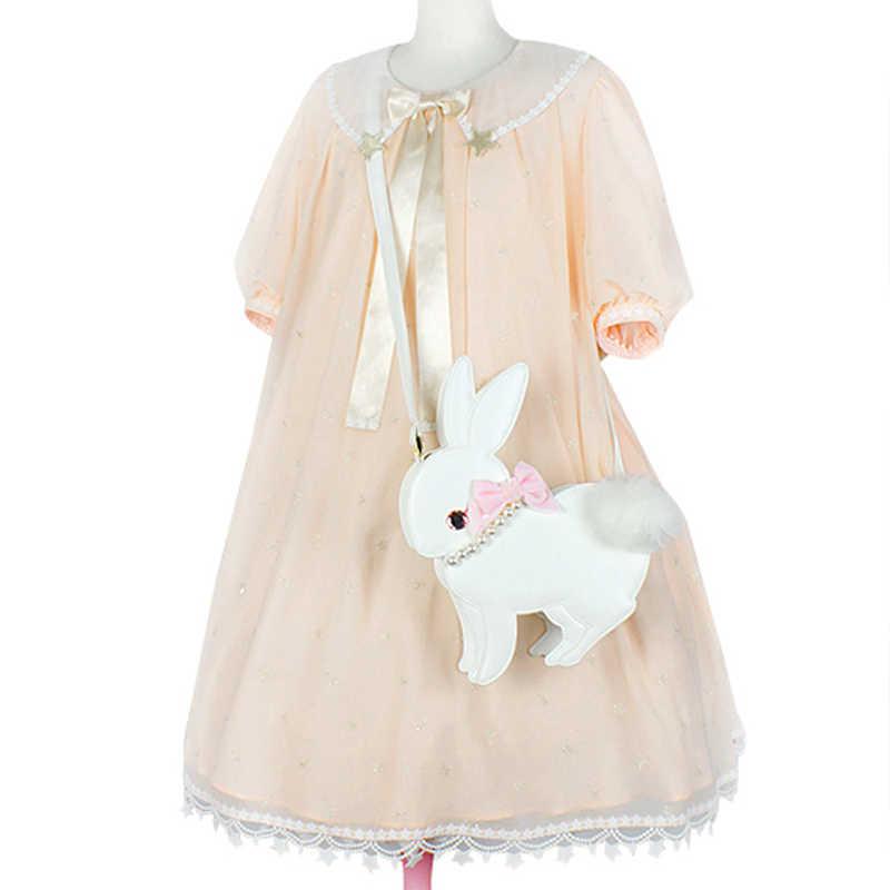 2018 новая милая белая черная сумка через плечо с кроликом, милая японская сумка с бантом и жемчугом из мультфильма, Сумка с комочком шерсти