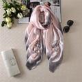 Nueva Bufanda de Europa y los Estados Unidos moda flores de tinta pantalla de seda de la bufanda de seda bufandas del mantón