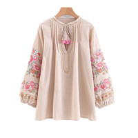 2018 New Women Clothing Shirts Tops Korean Version Loose Comfortable Long Sleeved Flower Embroidery Lantern Doll Shirt Top