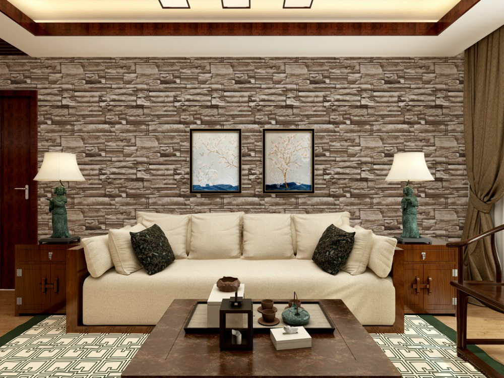 Modern vintage 3d stone wall paper 3d brick wallpapers for Papel pintado vintage