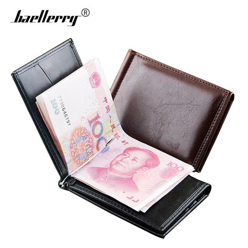 716df03f3826 baellery мужской Тонкий кошелек зажим Кожа маленький кошелёк Мужчины  Бумажник муржской Кошелек для карточек Бренд мужские