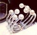 Мода полой золотой жемчуг металл широкий браслет манжеты для женщин заявление Панк браслет ювелирных изделий