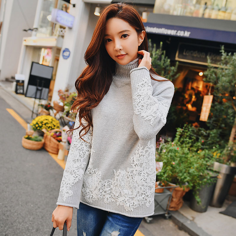 Dabuwawa Autumn Winter Women Lace Sweater 2019 New Comfortable Warm Thick High Collar Pullover Sweaters Female D18DKT014